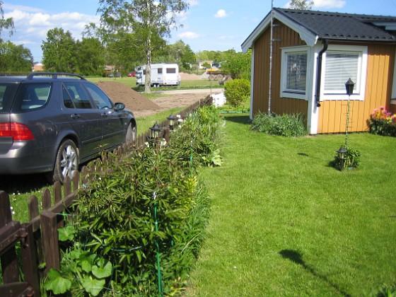 Granudden Längs staketet, där du inte ser så värst många blommor just nu, men väl gröna blad.&nbsp 2009-05-21 001 Granudden Färjestaden Öland